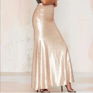 Lucy Paris Sea of Sequin Gold Maxi Skirt